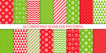 Christmas Seamless Pattern. Xmas, New Year Background. Vector. Endless Texture With Present, Snowflake, Candy Cane Stripe, Polka Dot, Tree. Print For Wrapping Paper Web Textile. Red Green Illustration