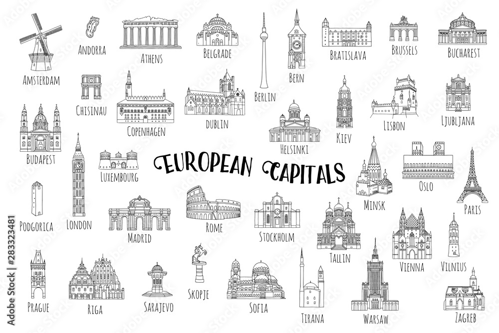 Fototapeta Set of 37 hand drawn landmarks from various European capitals, black ink illustrations