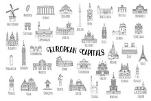 Set Of 37 Hand Drawn Landmarks From Various European Capitals, Black Ink Illustrations