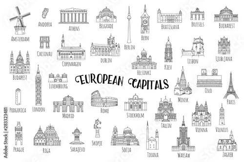 Foto  Set of 37 hand drawn landmarks from various European capitals, black ink illustr