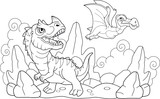 Fototapeta Dinusie - cartoon funny prehistoric dinosaurs, coloring book, funny illustration