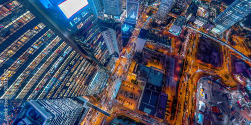 Poster New York TAXI Panorama aerial view of Hong Kong Nightscape in Central