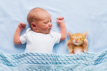 Baby Boy Sleeping With Kitten....