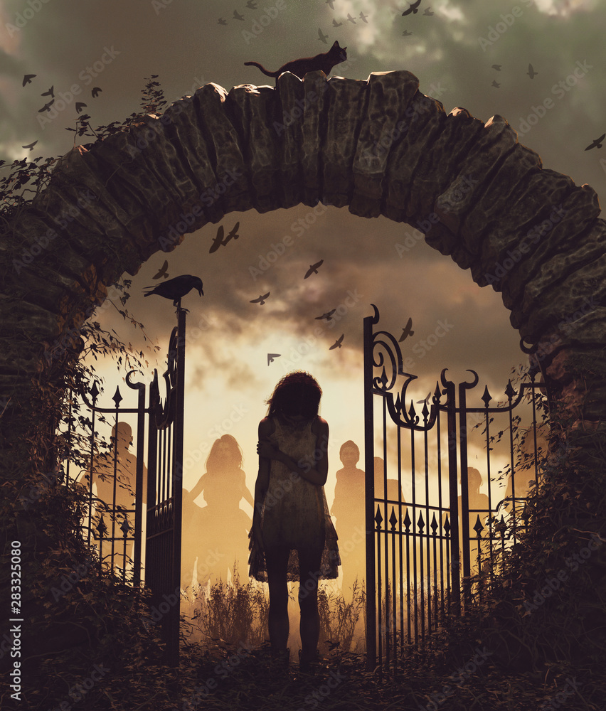 Fototapeta Ghost girl at the gate,3d illustration for book cover,vertical