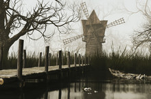 Old Windmill By The Lake,3d Re...