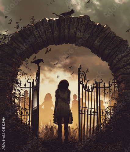 Ghost girl at the gate,3d illustration for book cover,vertical Canvas Print