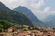 Riva del Garda View from the top of Torre Apponale with mountain background