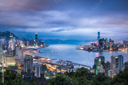 Hong Kong skyline and harbor at night Canvas Print