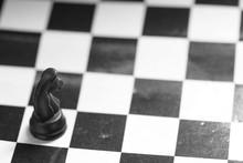 Miniature Plastic Chase Horse On Checker Board Scene.