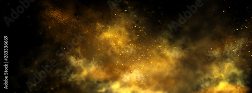 Fototapeta Abstract magic gold dust background over black. Beautiful golden art widescreen background obraz