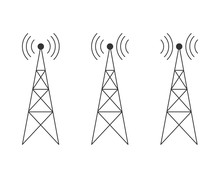 Icon Set With Transmitter, Repeater And Receiver Mast. Flat Design.