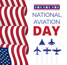 National Aviation Day In USA, Celebrated In August. Silhouettes Of Passenger And Military Aircraft