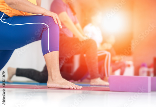 Class Of Yoga With Legs And Hands Of Fat Asia Woman