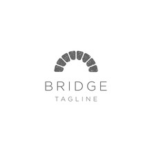 Simple Canal / Waterway Brick Bridge Logo