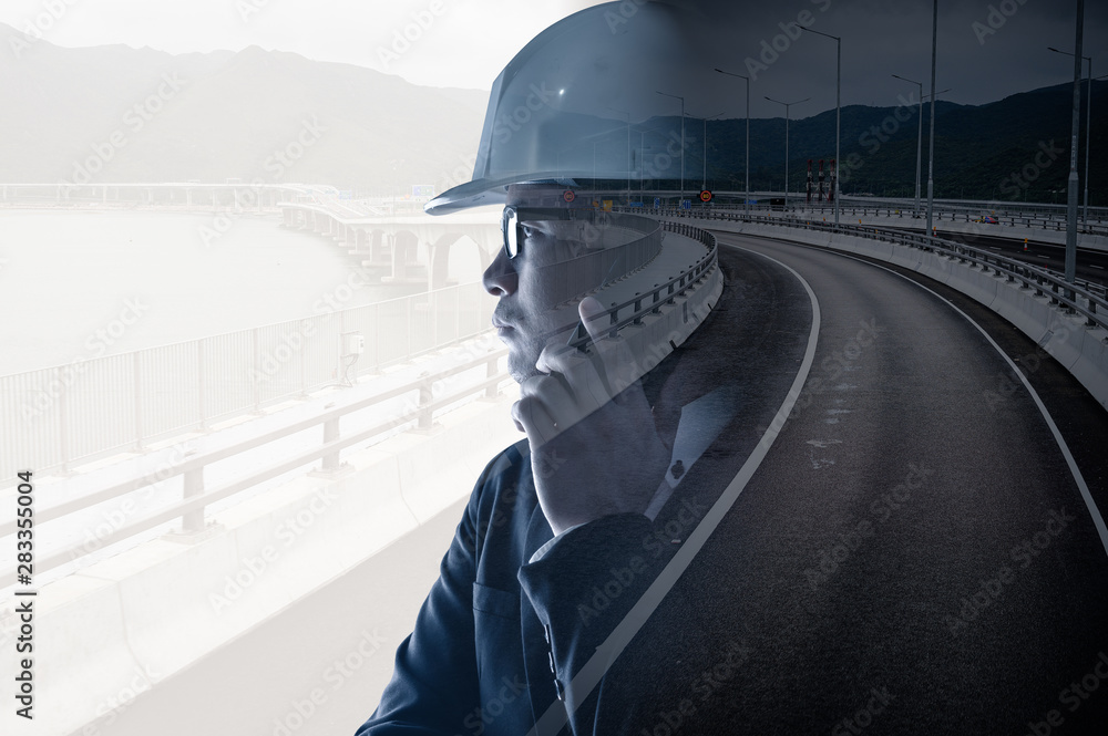 Fototapeta the double exposure image of the engineer thinking overlay with the traffic image. the concept of traffic, transportation, engineering and constructions.