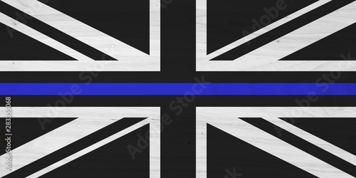 Wallpaper Mural British thin blue line flag with wood texture