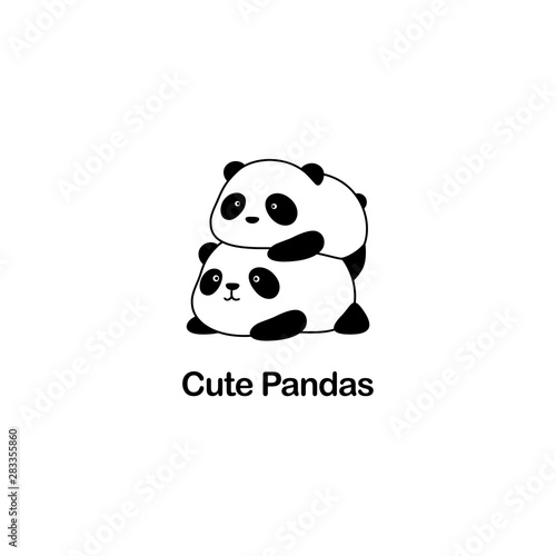 Fényképezés  Vector Illustration / Logo Design - Cute funny fat baby cartoon giant panda bear
