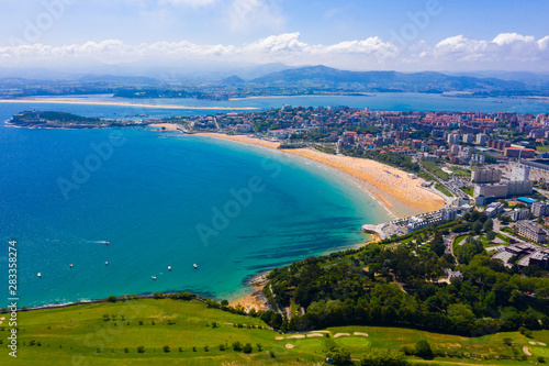 Coast at Santander cityscape with apartment buildings, Cantabria
