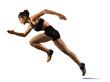 Leinwandbild Motiv Sporty woman running. Isolated on white background