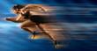Leinwandbild Motiv Sporty woman running. Blurred effect