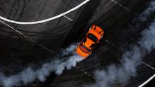 Aerial Top View Car Drifting O...