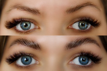 Female Face Before And After Eyebrows Correction. Beautiful Woman With Long Lashes In A Beauty Salon.