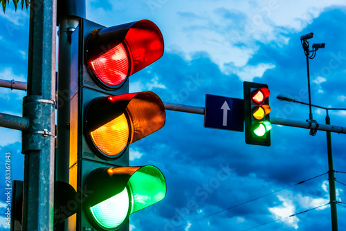 Traffic lights over urban intersection Wallpaper Mural