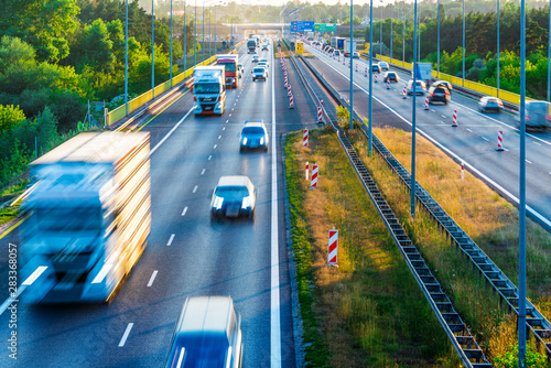 Trucks on four lane controlled-access highway in Poland - 283368057