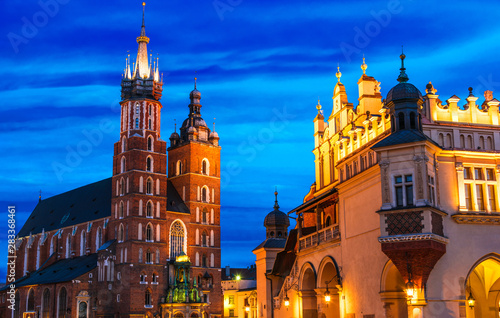 Fototapeta Main Market Square with Saint Mary's Basilica in Krakow, Poland obraz