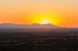 African sunset behind mountains from Otjiwarongo, Namibia