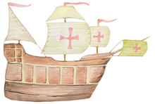 Old Ship Santa Maria With Sails On A White Background. Watercolor Illustration For Cards, Prints, Magazines