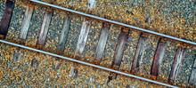 Alte Bahnschiene Von Oben Gesehen