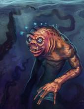 Orange Sea Creature Monster Character Swimming In A Blue Underwater Environment - Digital Fantasy Illustration