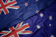 canvas print picture waving colorful flag of australia and national flag of new zealand.