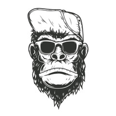 illustration of gorilla monkey in baseball cap. Design element for poster, t shirt, emblem, sign.