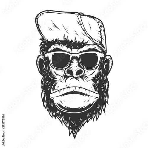 illustration of gorilla monkey in baseball cap Canvas Print