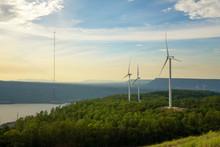 Windmill Production Energy Electricity At Lamtakong Reservoir, Nakhon Ratchasima, Thailand