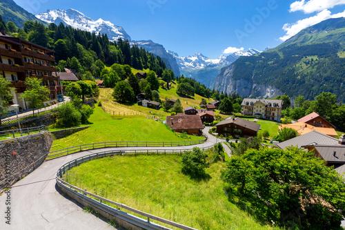Obraz View of the Swiss Alps near the city of Lauterbrunnen. Switzerland. - fototapety do salonu