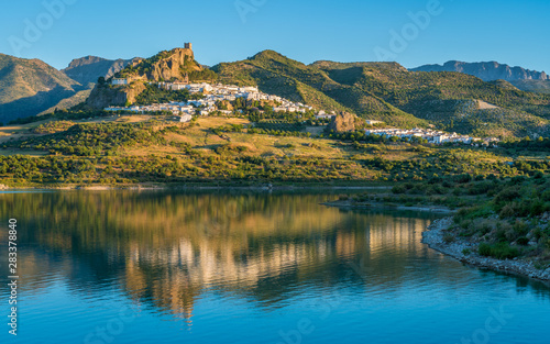 Obraz na plátně Panoramic sight of the beautiful Zahara de la Sierra, province of Cadiz, Andalusia, Spain