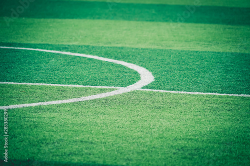 Photo sur Aluminium Pres, Marais Soccer Football field white round center line for background