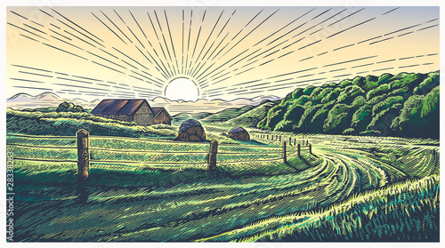 Rural landscape with village in engraving style and painted in color. Vector Illustration.