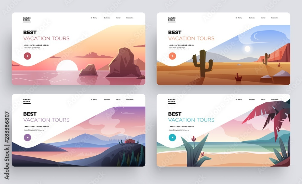 Fototapety, obrazy: Collection of landing page templates. Modern landscape backgrounds. Best vacation tours commercial