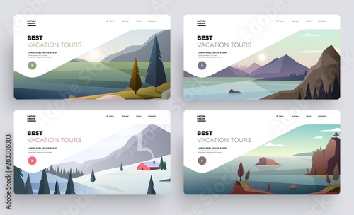 Poster Blanc Collection of landing page templates. Modern landscape backgrounds. Best vacation tours commercial