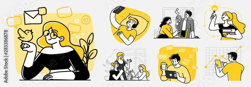 Collection of scenes at office. Bundle of men and women taking part in business meeting, negotiation, brainstorming, talking to each other. Outline vector illustration in cartoon style.