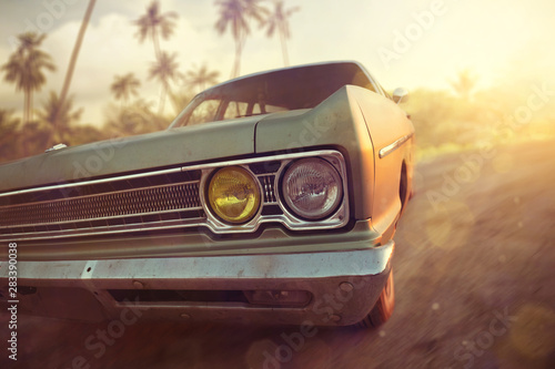Fond de hotte en verre imprimé Vintage voitures American vintage car in a tropical sunset