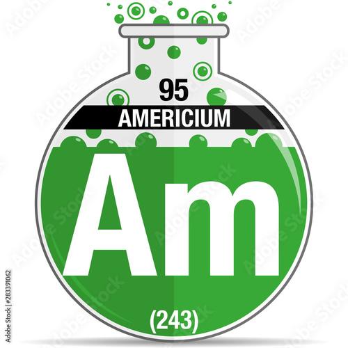 Americium symbol on chemical round flask Canvas Print