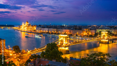 Panoramic view of Budapest by night Wallpaper Mural