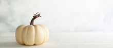 White Pumpkin On Vintage Wooden Table. Autumn Still Life. Halloween Or Thanksgiving Minimal Concept.