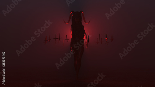 Fotografia Black Evil Witch Vampire Devil with a Head Dress and Upside Down Floating Crosse