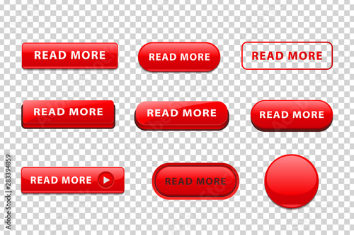 Fotografía  Vector set of realistic isolated red button of Read More logo for website decoration and landing covering on the transparent background